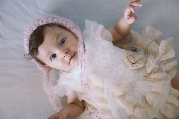 Baby hair accessories. Summer. White/pink/beige Crochetbynina  CrinaCurescu