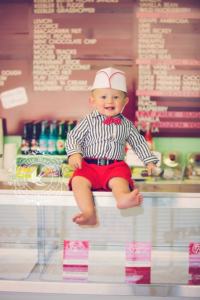 www.kamillemarshall.com / vintage ice cream parlor photo shoot for 1 year old Birthday invitations