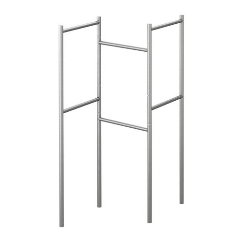 GRUNDTAL Towel stand   - IKEA - in the catalog, they had handing Cutlery caddy $9.99 each 102.020.88 with plants hanging in them.  Maybe for a space divider? Pretty up the driveway along with potted Dahlia's?