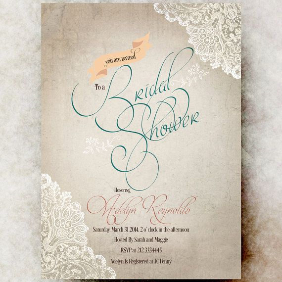 Rustic Bridal Shower Invitation  Lace Bridal by DivineGiveDigital, $21.00