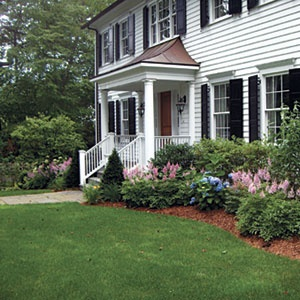 astible & hosta in foundation plantings