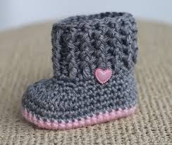 Grey and pink hear crochet booties