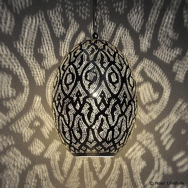 Ovale hanglamp met Arabisch patroon
