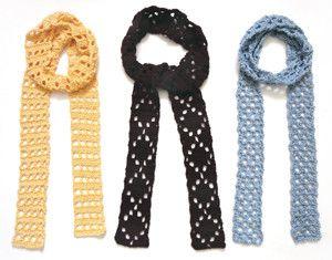 Crochet Pattern: Eyelet Skinny Scarves