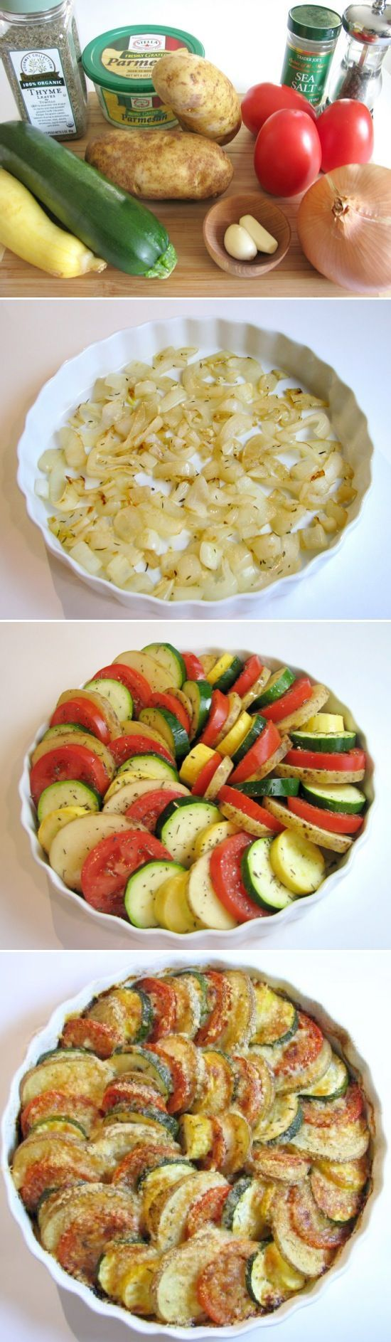Parmesan Vegetable Spiral: a bed of onions is topped by a medley of veggies (tomatoes, potatoes, squash and zucchini) then drizzled w EVOO, sprinkled w Parmesan cheese and roasted to perfection. Gorgeous new way to eat your veggies!