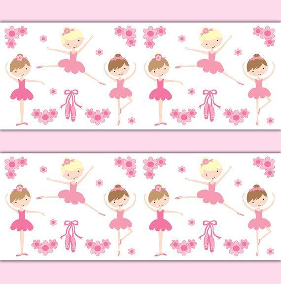 ballerina wallpaper border wall art decals girl pink