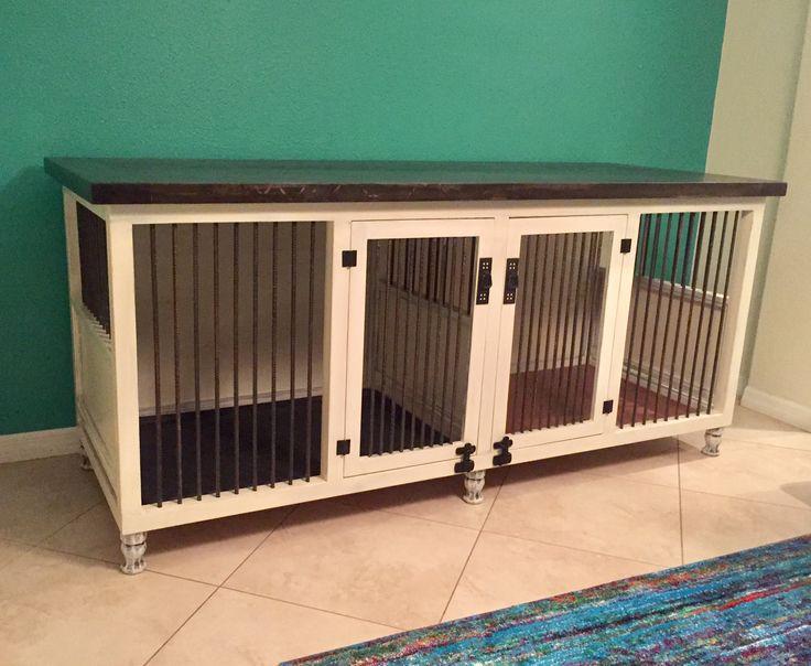 Dog kennel, double large size, shabby finish