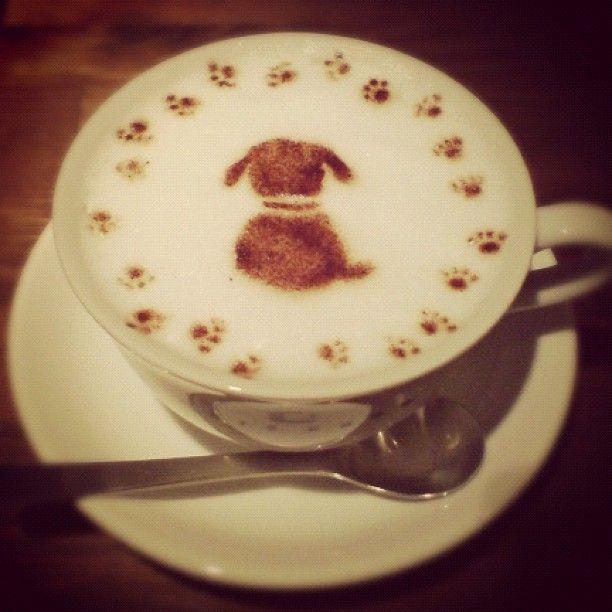 puppy coffee art