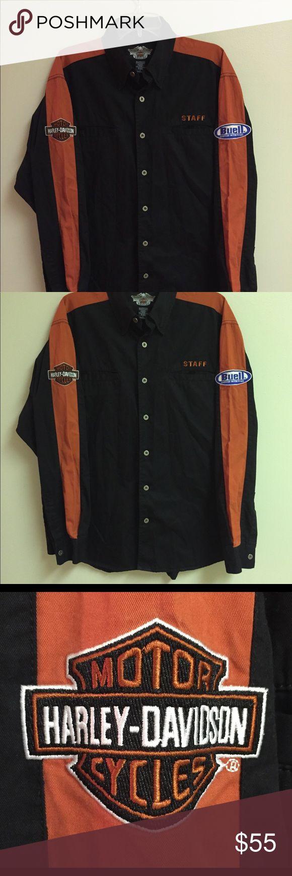 Harley Davidson shirt Harley Davidson Co Buell Motorcycles mens large button front orange black shirt Harley-Davidson Shirts Casual Button Down Shirts