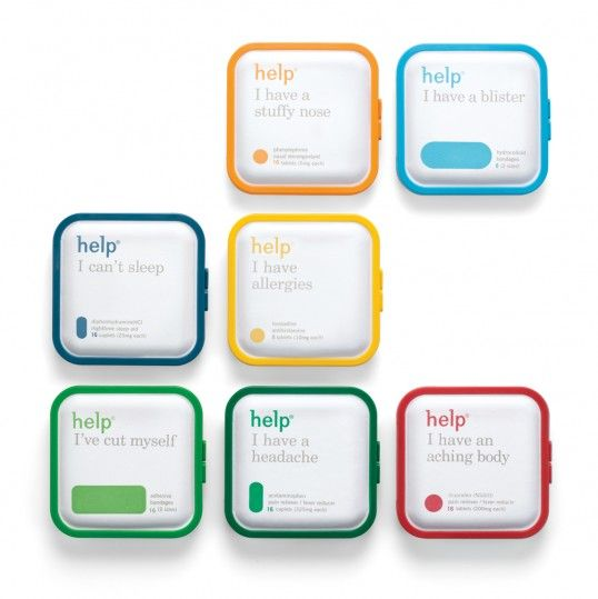 The medicine containers are eco-friendly, made from recycled material. Color coding makes for quick identification. The title is a modern typeface and the lowercase characters gives it a friendly feel. The subtitle is set in a traditional typeface in a traditional manner, giving the overall feeling of trustworthiness.