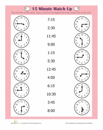 Worksheets: Quarter Hour