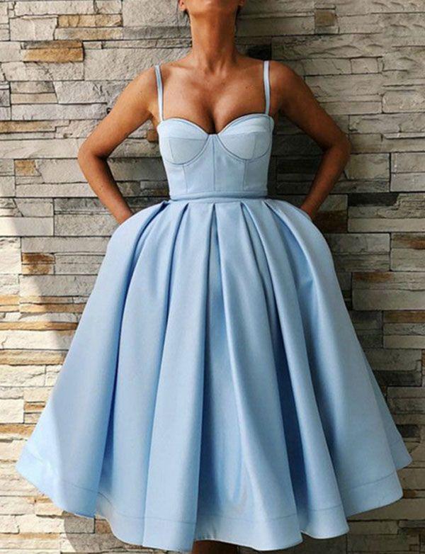 a16f537de90 Sweetheart Blue Satin Tea Length Homecoming Dresses in 2019