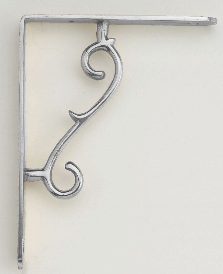 Scroll Design Chrome Shelf Bracket (14cm x 18cm)