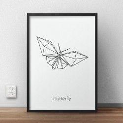 Skandynawski plakat grafika z motylem do powieszenia na ścianie sypialni lub salonu