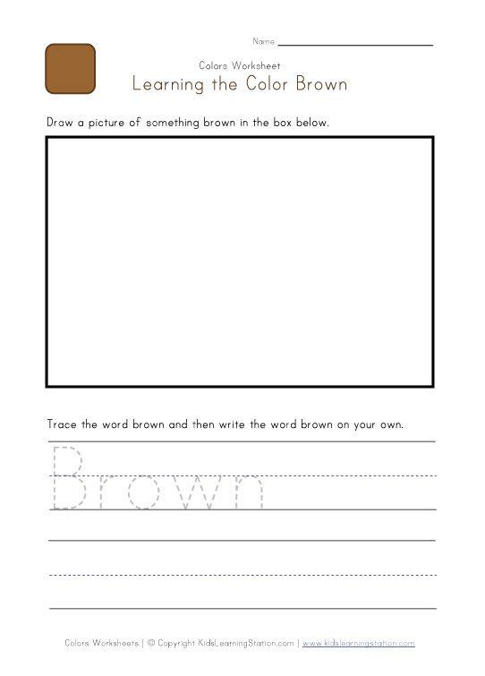 color brown worksheets for preschool Color Brown