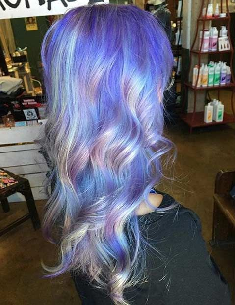 Pastel Purple Hair + Silver Holographic Highlights