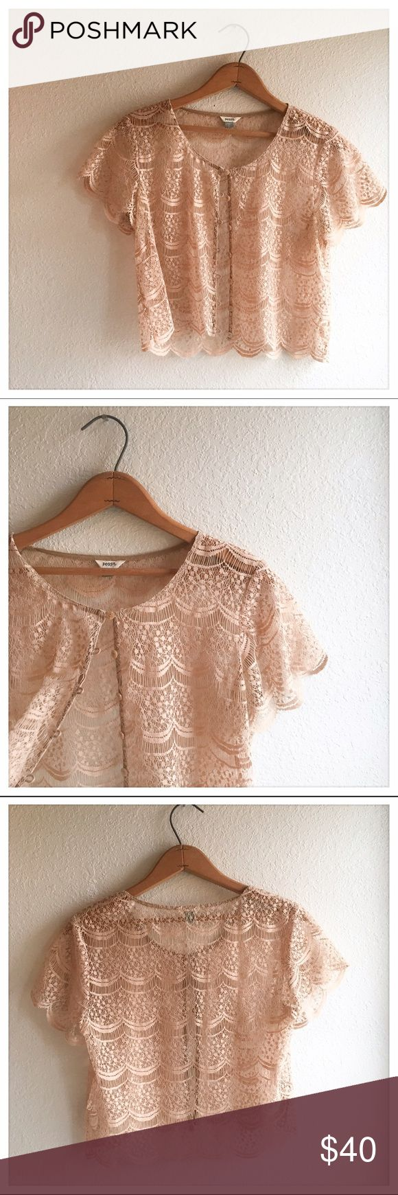 FOSSIL lace top Fossil lace button up top. Such a light feminine top! Perfect to put on over an elegant dress or over a top. Fossil Other
