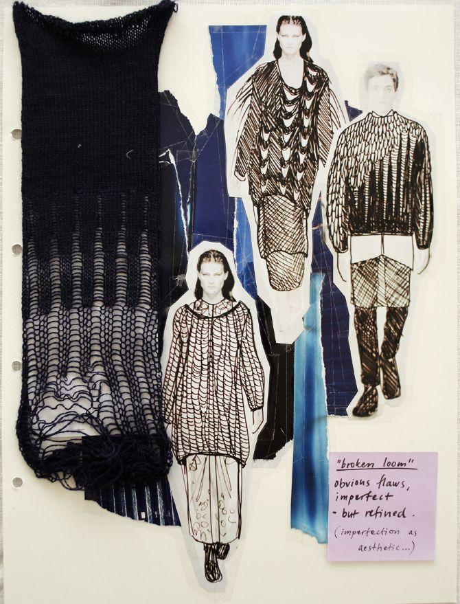 Fashion Portfolio - fashion sketchbook layout; fashion mood board, illustration & irregular knit samples - fashion design process // Lina Michal