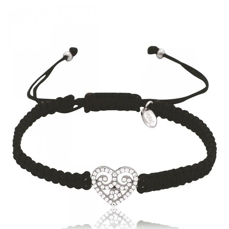 Ladies waxed cotton Coeur Envouté hearts black cord - Murat Paris