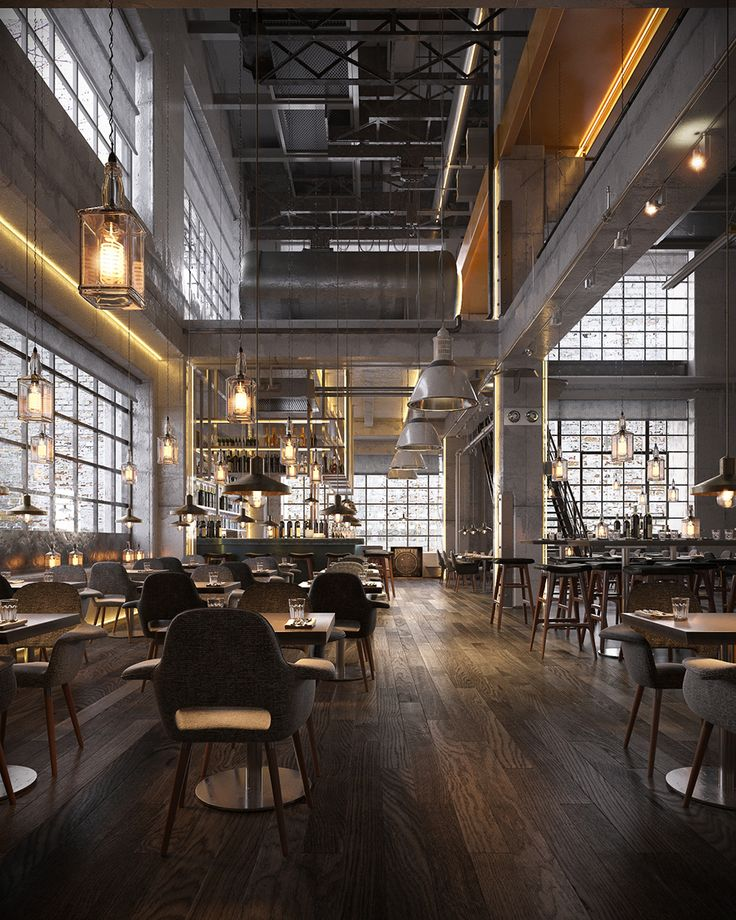 25 best ideas about industrial restaurant on pinterest for Industrial interior designs