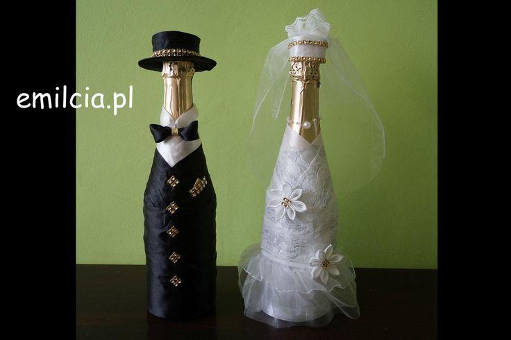 Butelka Butelki Ubranka na Szampana Szampan  Prezent Ślubny Upominek Biel i Czerń i Złoto ...Ślub Rocznica  Podziękowanie :) Możliwość złożenia zamówienia na inną kolorystykę :) Wedding Dodatki Ślubne