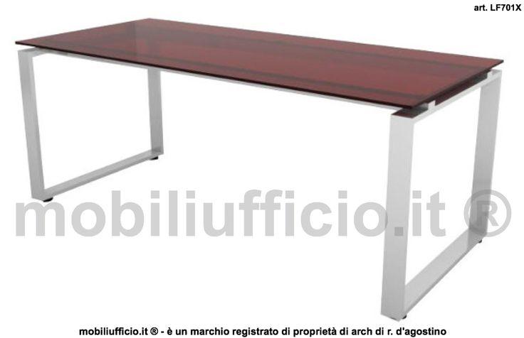 """art. LF701X - #scrivania per #ufficio #direzionale o #operativo con piano in vetro colorato retrolaccato sp. 10 mm. e basamento in metallo versione ad """"ANELLO CHIUSO""""."""