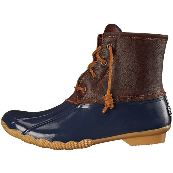 Sperry Saltwater (Tan/Navy) Women's Lace-up Boots ($120) ❤ liked on Polyvore featuring shoes, boots, water proof boots, navy combat boots, combat boots, navy blue leather boots and sperry boots