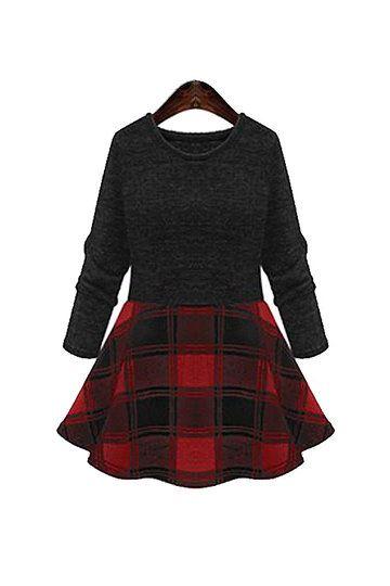 Red and black check skater dress