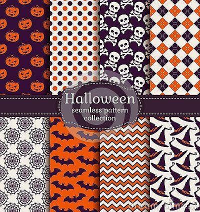 Vector Illustration about Halloween seamless patterns. Vector set.