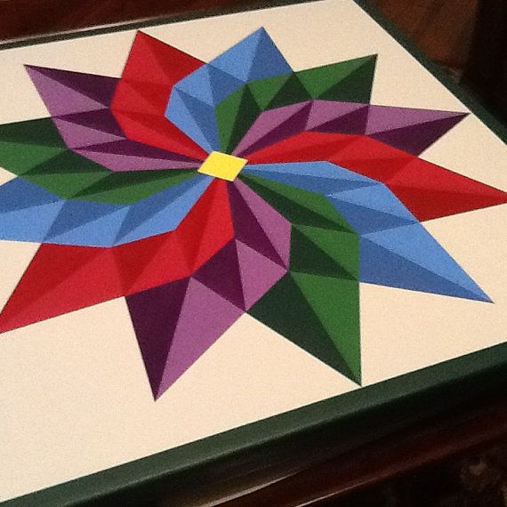 Beautiful 12 Pointed Star barn quilt by PYsBarnQuilts on Etsy