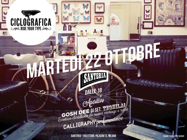 Ciclografica @ Santeria: bici, calligrafia e musica #bikes #calligraphy #music