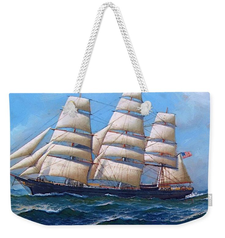 The Weekender Tote Bag featuring the painting The American Clipper Ship Gamecock Under Full Sail 1918 by Jacobsen Antonio