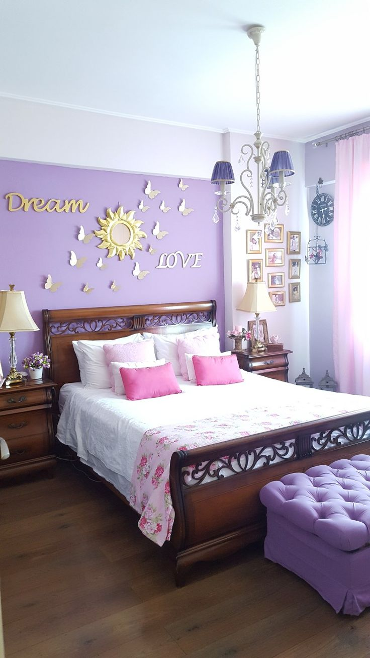 Decor bedroom pink lila colours