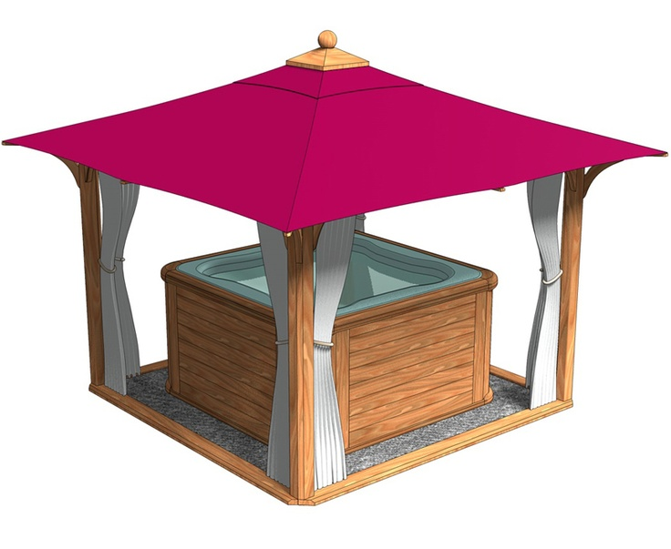Hot tub enclosures large hot tub enclosure canvas roof for Large wooden gazebos