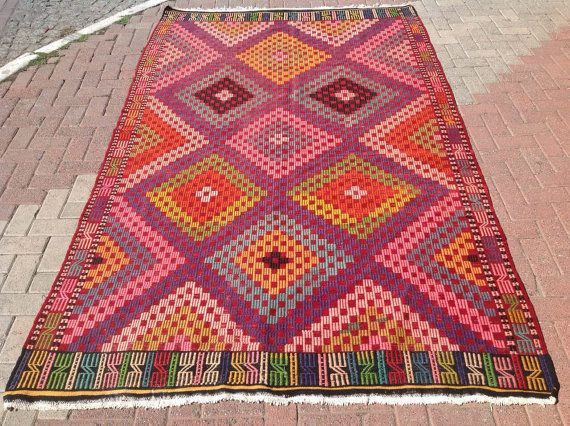 Pink Rugs Purple And Green Kilim Rug Vintage Faded