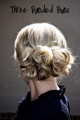 Three banded buns: Band Buns, Long Hairstyles, Hairs Tutorials, Hairs Idea, Hairs Styles, Girls Hairstyles, Messy Buns, Updo, Three Band