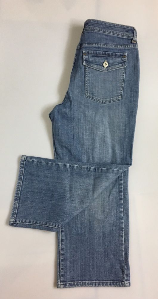 CHICO'S Womens Cropped Jeans Size 1 / Lite Wash Stretch Cotton Denim Pants  #Chicos #CapriCropped