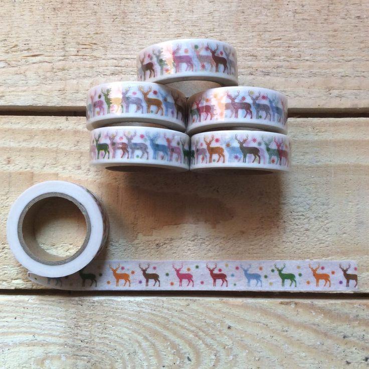 Washi tape ciervos de colores. Cinta adhesiva decorativa para tu agenda, bullet journal, regalos, felicitaciones... Con diseño navideño.