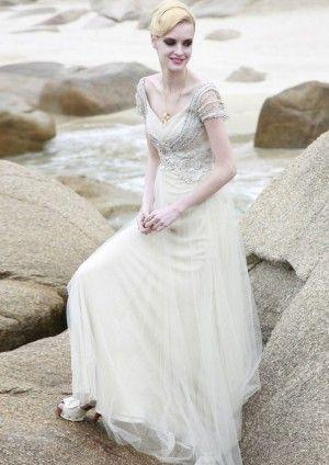 A-line V-neck Floor-length Cap Sleeveless Tulle Evening Dresses