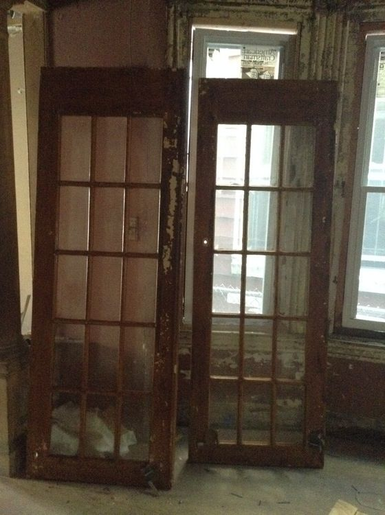 French doors, bevelled glass —