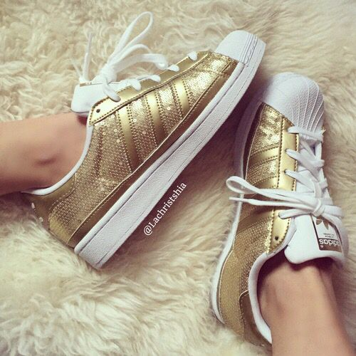 Adidas Superstars Glitter Gold