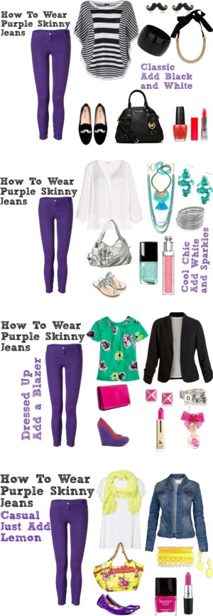 "Yellow, White, Pink, Black, Silver, Denim,  Green, Red, Turquoise Outfit  ""How To Wear Purple Skinny Jeans"" by bbeingcool-1 on Polyvore"