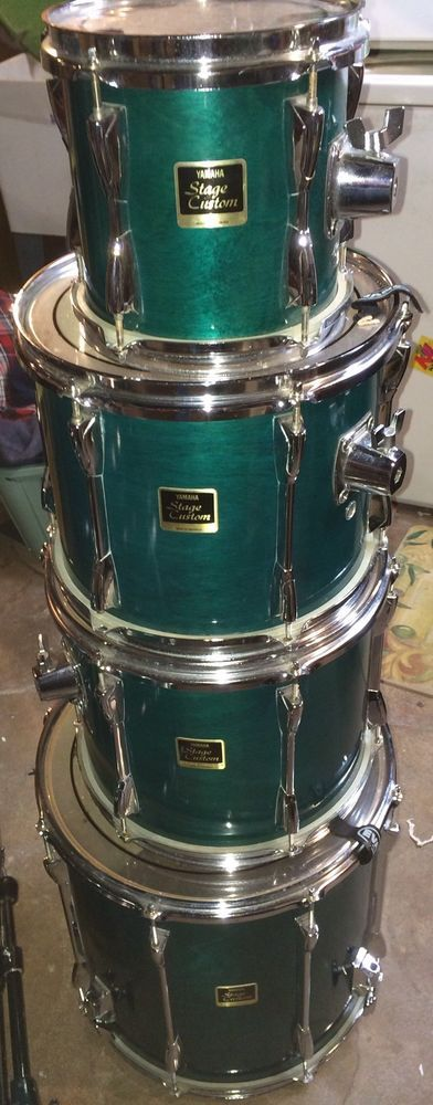 Yamaha Stage Custom Green 5 Piece Drum Set W/ Beato Bags Cases Fusion Kit in Musical Instruments & Gear, Percussion, Drums   eBay