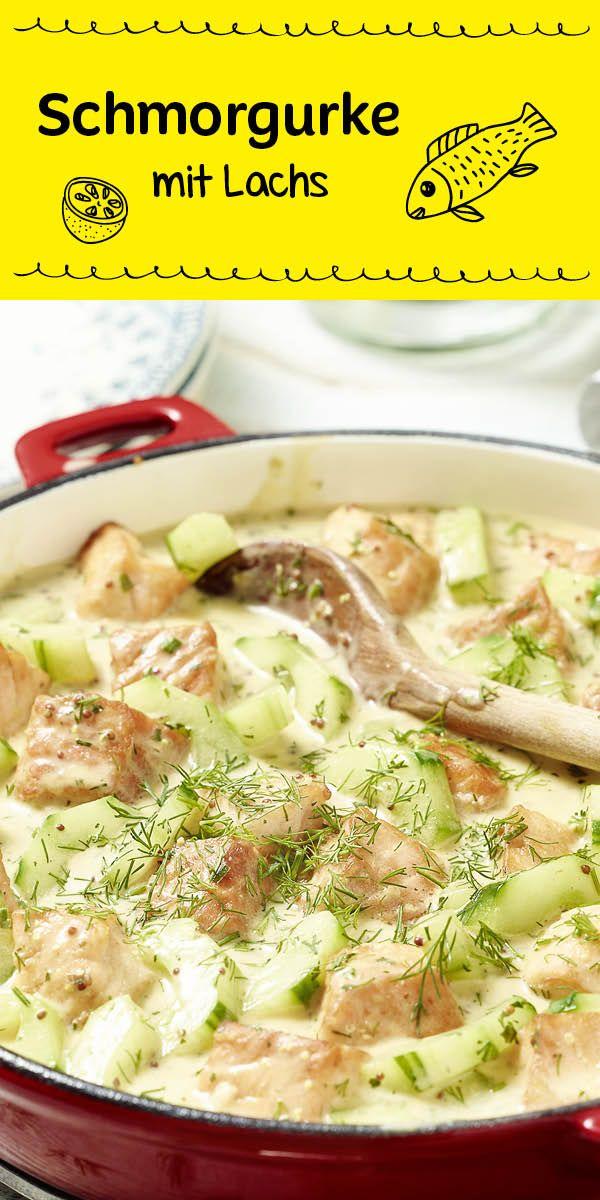 Herrlich frisch: Schmorgurke mit Lachs und Dill ergeben ein köstliches Pfannengericht. Als Beilage passen Kartoffeln oder Reis perfekt dazu.                                                                                                                                                                                 Mehr