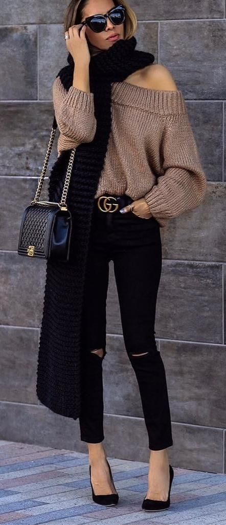 black+and+brown_one+shoulder+sweater+++scarf+++bag+++skinnies+++heels