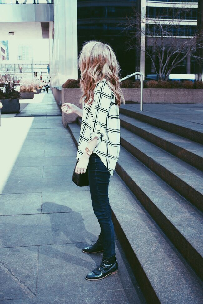 Black and white plaid // boots