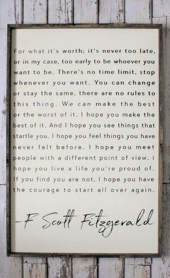 F. Scott Fitzgerald Quote, Wood Sign. Inspiring Qu…