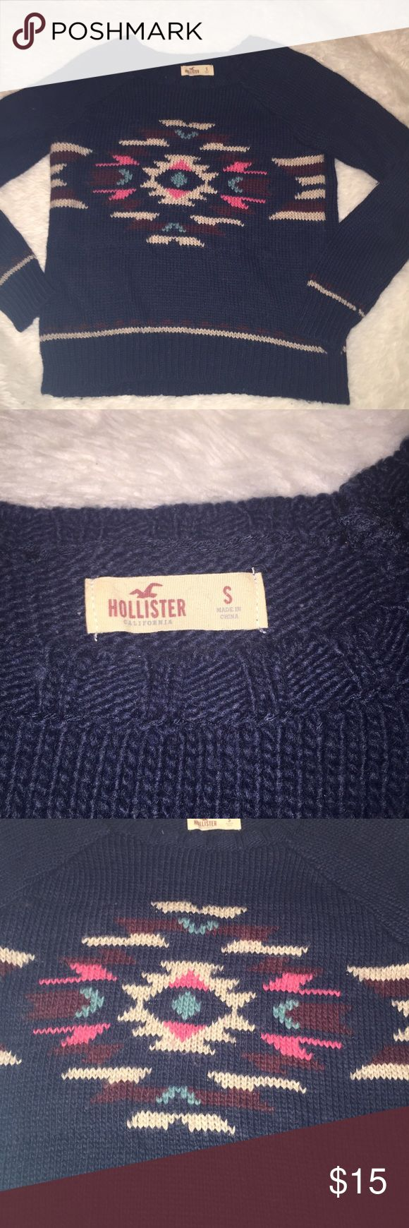Hollister tribal print sweater Dark gray wearer with colorful tribal print design. Simple and chic terrific to wear in the fall and winter size S like new Hollister Sweaters Crew & Scoop Necks