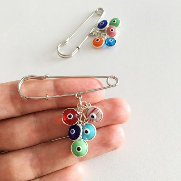 Colorful evil eye beads safety pin / protection for baby  vil eye beads safety pin, Lucky evil eye safety pin, mixed color stroller pin, baby shower gift, gift for baby, protection for baby  This unique lucky charm can be hanged on a stroller or carriage. It will provide the newborn infinite amounts of positive and protective energies.