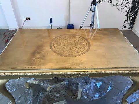 come fare un tavolo in oro con resina epossidica YouTube